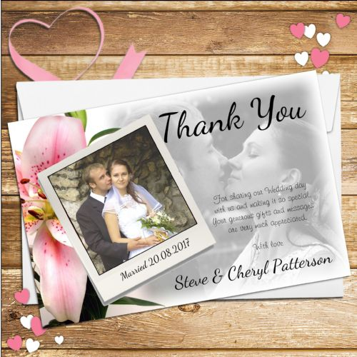 10 Personalised Pink Lily Wedding Day Thank you Photo Cards N55